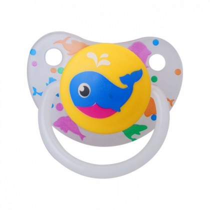 JAPLO PACIFIER SOOTHER AQUATIC - WITH NIGHT GROWTH HANDLE AND RATTLE - CHERRY