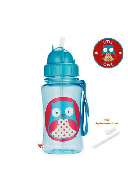 Skip Hop Zoo Straw Bottle - Owl (FREE 1 Extra Straw)