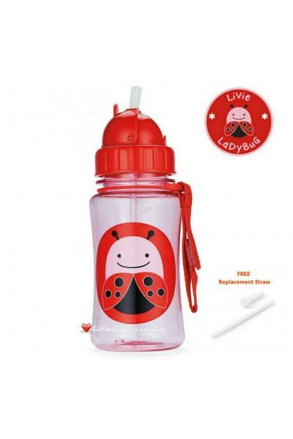 Skip Hop Zoo Straw Bottle - Ladybug (FREE 1 Extra Straw)