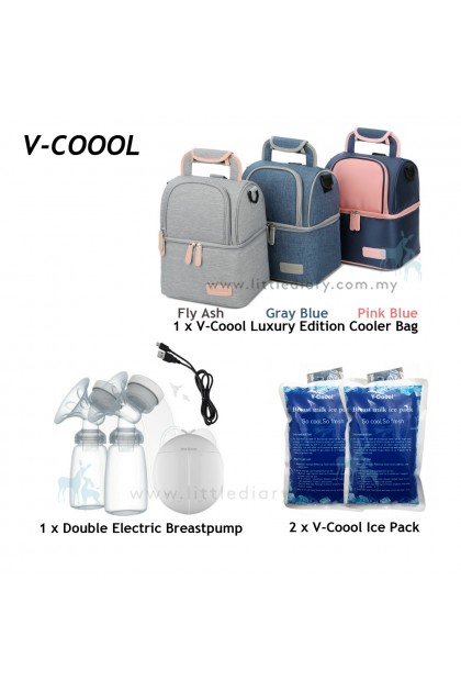 V-Coool Luxury Edition Double Deck Cooler Bag Electric Breast Pump Set
