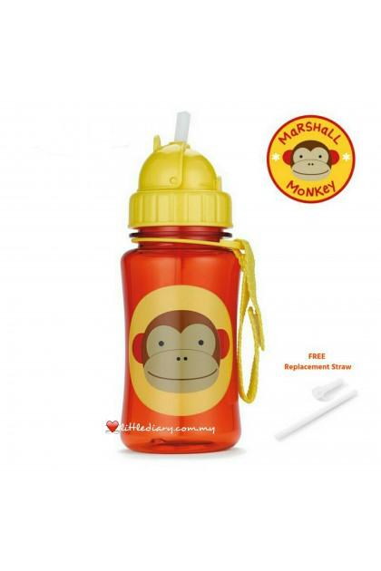 Skip Hop Zoo Straw Bottle - Monkey (FREE 1 Extra Straw)