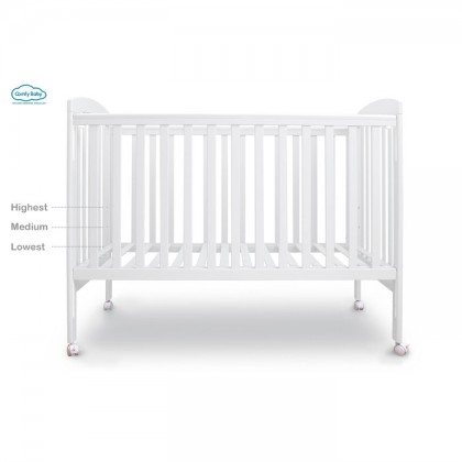 Comfy Baby Wooden Baby Cot - White (60x120cm) + Free Gift