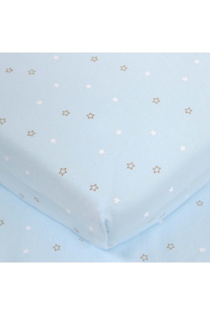 Comfy Baby Fitted Sheet (L) (70x130cm) - Blue Star