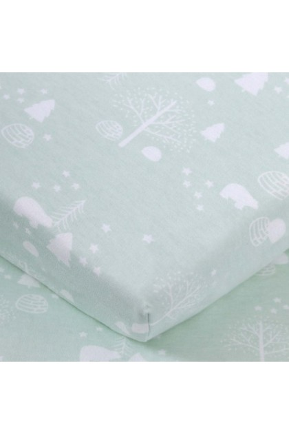 Comfy Baby Fitted Sheet (L) (70x130cm) - Green Bear
