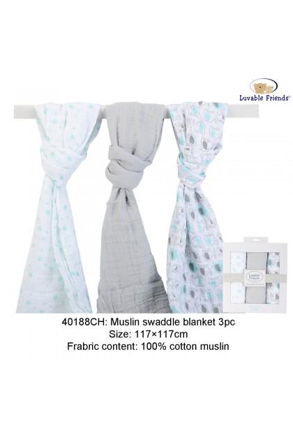 Luvable Friends 3pcs Muslin Swaddle Blanket - 40188CH