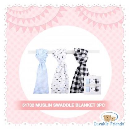 Hudson Baby 3pcs Muslin Swaddle Blanket - 51732