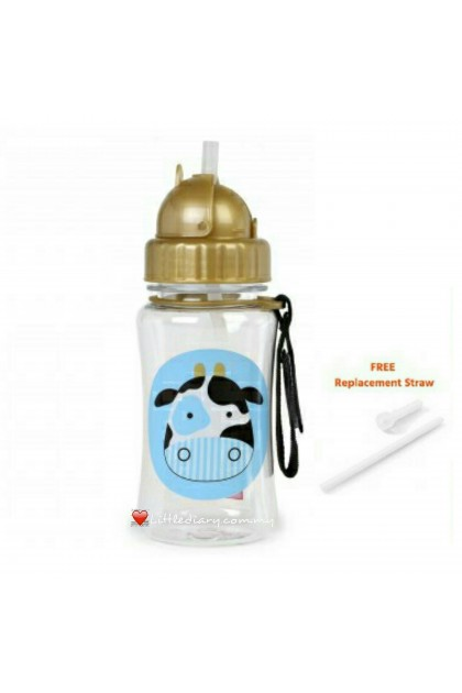 Skip Hop Zoo Straw Bottle - Cow (FREE 1 Extra Straw)