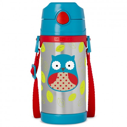 Skip Hop Zoo Insulated Stainless Steel Straw Bottle - Owl