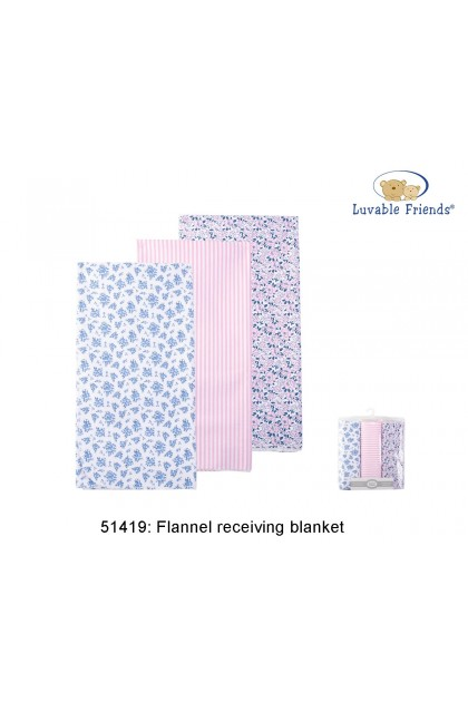 Luvable Friends Flannel Receiving Blanket 3pcs 51419