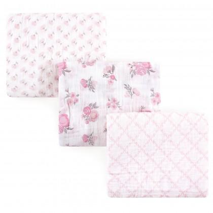 Hudson Baby 3pcs Muslin Swaddle Blanket - 52075