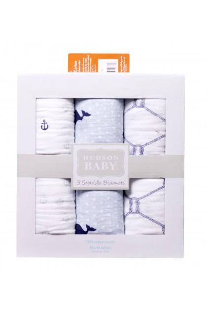 Hudson Baby 3pcs Muslin Swaddle Blanket - 50651