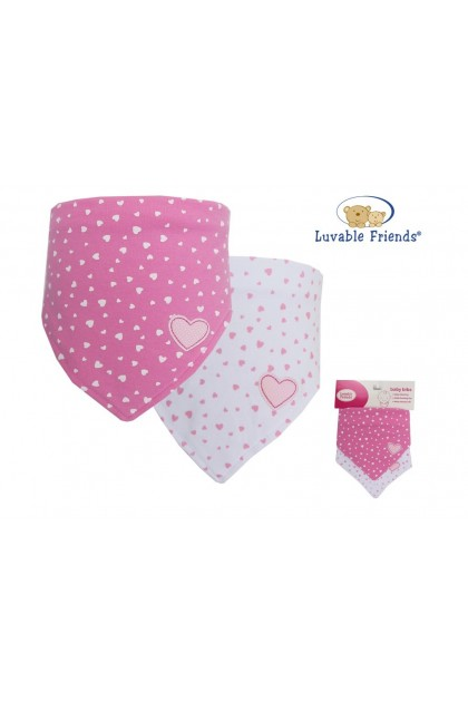 Luvable Friends Triangle Trendy Bib (Pink) 2pk - 70050
