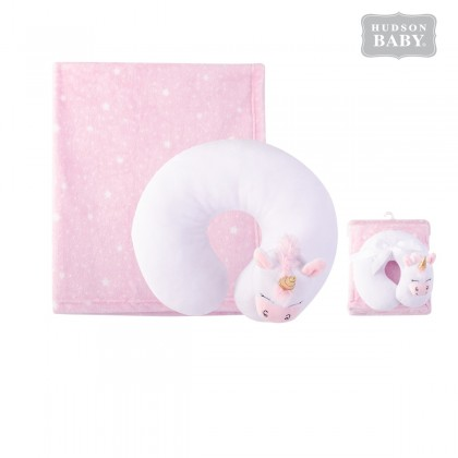 Hudson Baby Neck Pillow & Blanket Set - 52262 unicorn