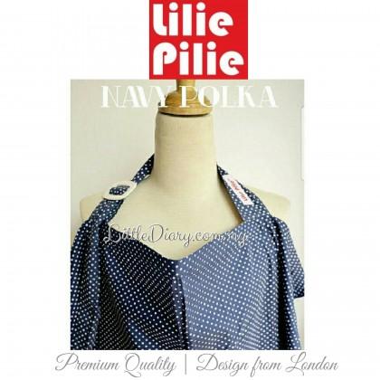 Lilie Pilie Nursing Apron Cover - Navy Polka