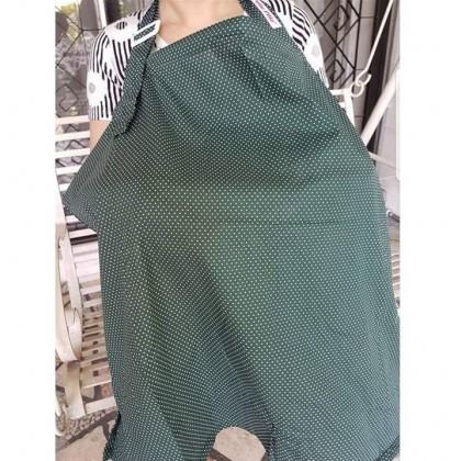 Lilie Pilie Nursing Apron Cover - Cool Polka (Dark Green)