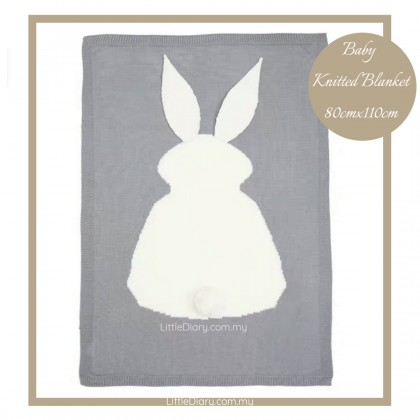 Baby Knitted Blanket - Bunny (80cm x 110cm)