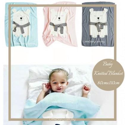 Baby Knitted Blanket - Bear (80cm x 110cm)