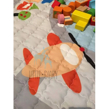 Stylish Round Foldable Easy Carry Cotton Play Mat (Diameter 150cm) - 1pc