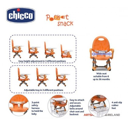 Chicco Pocket Snack Portable Booster Seat (3M+ to 3Years Old) - Orange