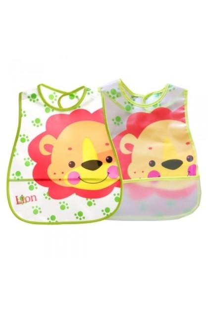 Baby Waterproof BIB with Rice Pocket - Lion
