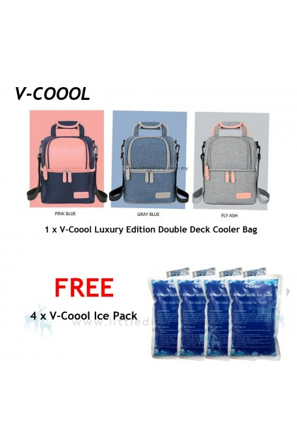 V-Coool Luxury Edition Double Deck Cooler Bag Free 4 Ice Pack