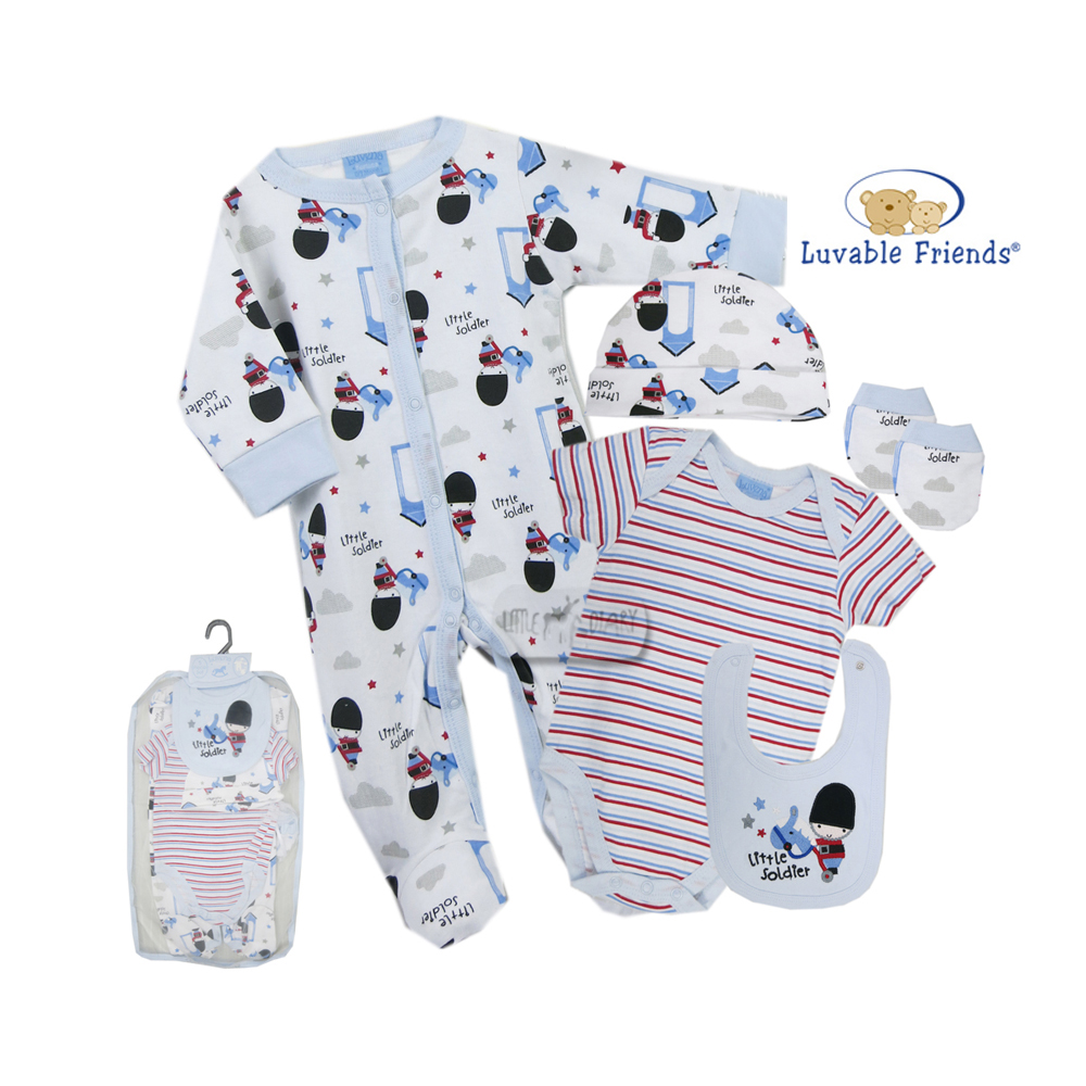Luvable Friends Little Soldier 5pcs Gift Set with Mesh Bag(0-3Months)
