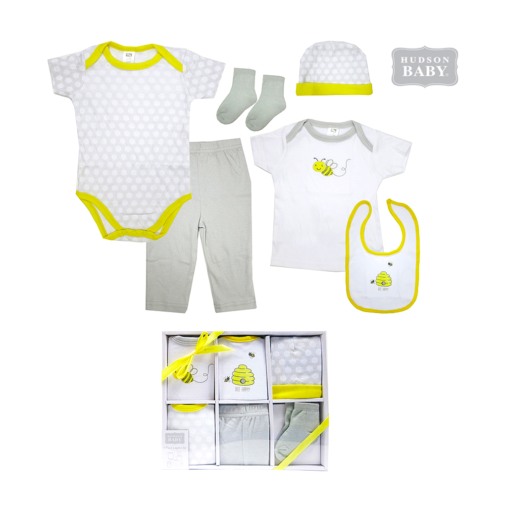Hudson Baby Gift Box 6pcs Set (0-3Months) - Bee